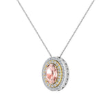 Oval Cut Pink Morganite Double Halo 2 tone necklace 14K Gold (I,I1) - Yellow Gold