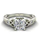 0.78 Carat Art Deco Trinity Knot Engagement Ring 14K Gold (G,I1) - White Gold