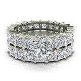 Round Center Princess Eternity Diamond Wedding Ring Set 14K White Gold (I,I1) - White Gold