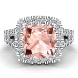 Cushion Cut Pink Morganite Halo Engagement Ring 14K Gold (I,I1) - White Gold