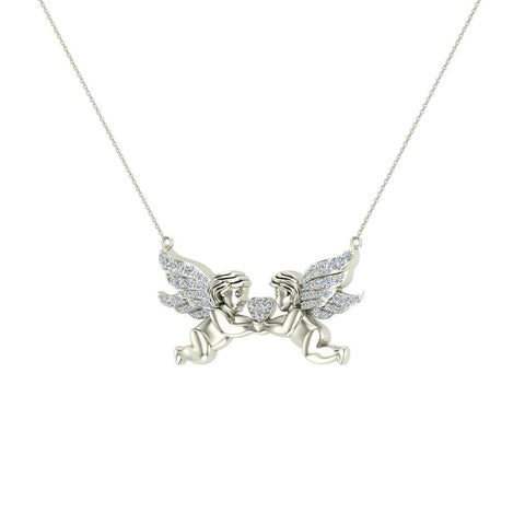 14k gold necklace twin angels wings diamond charm pendant g hsi1 14k gold necklace twin angels wings diamond charm pendant gsi aloadofball Choice Image
