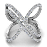 Multi Row Diamond Cocktail Knuckle Ring 18K Gold (G,VS) - White Gold