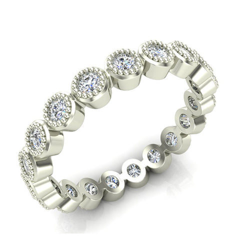 0.60 cttw Bezel Set Milgrain outline Diamond Stackable Band 14k Gold (I,I1) - White Gold