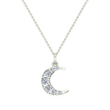 Crescent Dainty Charm Diamond Necklace 18K Gold 0.24 ctw (G,SI) - White Gold