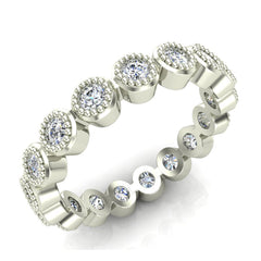 Bezel Set Milgrain outline Diamond Stackable Band Ring In White Gold