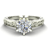 0.75 Carat Vintage Style Filigree Engagement Ring 14K Gold (I,I1) - White Gold