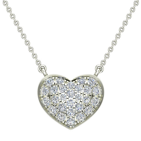 1/3 cttw Diamond Heart Necklace on 14K White Gold on Sterling - White Gold
