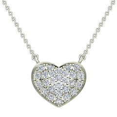 1/3 cttw Diamond Heart Necklace on 14K White Gold on Sterling