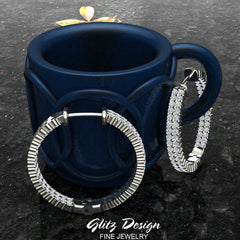 26 mm Diameter Dual Row Inside out Diamond Hoop Earrings Click Lock Setting 1.85 ctw 18k Gold (G,VS)