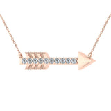 18K Gold Necklace 0.11 ct Diamond Arrow Pendant (G,VS) - Rose Gold