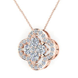 0.80 ct tw Loop style Flower Cluster Diamonds Necklace 18K Gold (G,VS) - Rose Gold