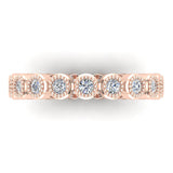 0.53 cttw Bezel Set Milgrain outline Diamond Stackable Band 18k Gold (G,VS) - Rose Gold