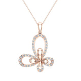0.51 ct tw Butterfly Diamond Necklace 14K Gold (I,I1) - Rose Gold