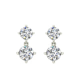 Round Brilliant Drop Two stone Diamond Dangle Earrings 14K Gold (G,SI) - White Gold