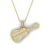 0.36 Carat Guitar Instrument Charm Diamond Necklace Music Jewelry 18K Gold (G,SI) - Yellow Gold