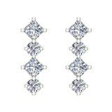 Simplistic Square and Dot Motif Dangle Diamond Earrings 14K Gold 1.64 ctw (I,I1) - White Gold