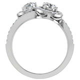 Two-Stone Diamond Halo Setting Engagement Ring 14k Gold (G,SI) - White Gold