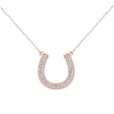 0.30 ct tw Diamond Horse shoe Necklace 18K Gold (G,VS) - Rose Gold