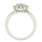Halo Engagement Ring Classic Style Floral Halo Shared Prong Setting 14K Gold 1.05 Carat Total Weight (I,I1) - White Gold