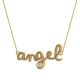 Angel Charm Necklace 18K Gold Bezel set Diamond Highlight (G,SI) - Yellow Gold