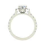 1.81 Carat Total Weight Dual Row Wide Shank Halo Diamond Engagement Ring 14K Gold (G,SI) - White Gold