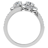 Two-Stone Diamond Halo Setting Engagement Ring 14k Gold (I,I1) - White Gold