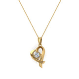 Dainty Heart Pendant Round 4mm Diamond Necklace 14K Solid Gold 0.25 CTW (I,I1) - Yellow Gold