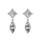 Princess & Marquise Drop Two stone Diamond Dangle Earrings 14K Gold (I,I1) - White Gold