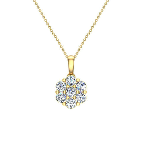 14K Gold Necklace Diamond Cluster Flower Style (I,I1) - Yellow Gold