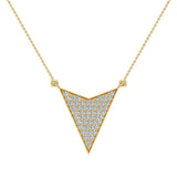 14K Gold Chevron Shape Arrow Pendant Pavé set Diamonds Necklace 0.50 Carat Total Weight (G,SI) - Yellow Gold