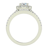 Ravishing Round Cushion Halo Diamond Wedding Ring Set 1.40 ctw 18K Gold (G,SI) - White Gold