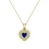 Dainty Blue Sapphire & Halo Diamond Heart Necklace 14K Solid Gold ¾ ctw - Yellow Gold