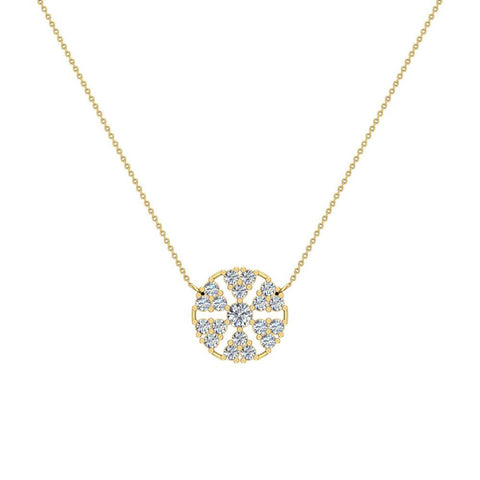 Petals of a Flower Cluster Diamond Pendant in 14K Gold (I,I1) - Yellow Gold