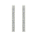 Exquisite 25.99 mm Diameter Inside Out Diamond Hoop Earrings 1.90 ctw 18K Gold Shared Prong Setting  (G,VS) - White Gold