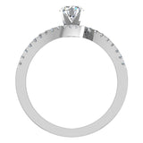 18k Gold Diamond Promise Ring Bypass Setting 0.50 ctw (G,VS) - White Gold