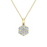 14K Gold Necklace Diamond Cluster Flower Style (G,SI) - Yellow Gold