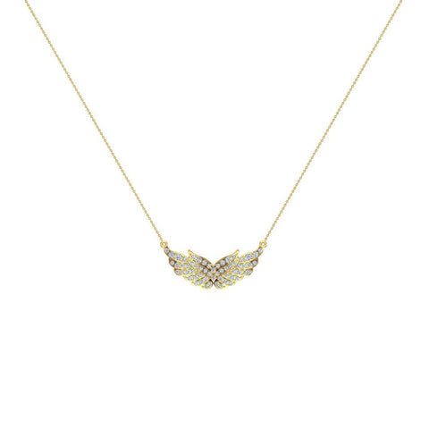 14K Gold Necklace Feather & Wings Diamond Pendant 0.74 ctw (I,I1) - Yellow Gold