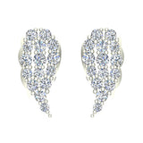 Angel Wing Pave Diamond Cluster Stud Earrings 0.50 ctw 14K Gold (I,I1) - White Gold