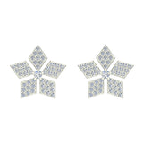14K Gold Wild-Flower Petal Diamond Stud Earrings ½ ctw (I,I1) - White Gold