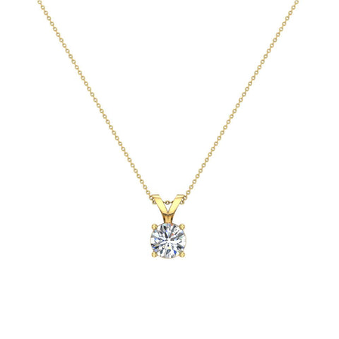 Round Brilliant Diamond Solitaire Pendant Necklace in 14K Gold (G,VS) - Yellow Gold