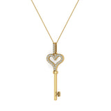 14K Gold Key to your Heart Diamond Necklace ¼ ctw (G,I1) - Yellow Gold
