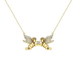 14K Gold Necklace Twin Angels & Wings Diamond Charm Pendant (I,I1) - Yellow Gold