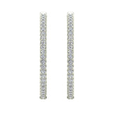 Exquisite 34.69 mm Diameter Inside Out Diamond Hoop Earrings 1.80 Ctw 14K Gold Shared Prong Setting (I,I1) - White Gold
