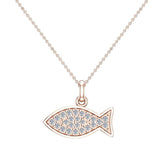 14K Gold Fish Pendant 0.27 ct tw Pave-set Diamond Charm (G,SI) - Rose Gold