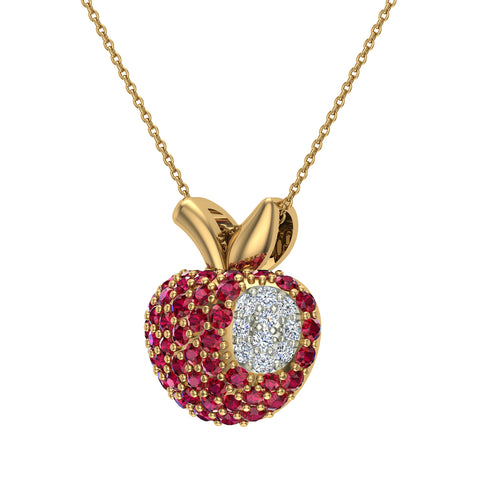 Red Garnet Apple Charm Necklace 14K Gold 0.81 ctw - Yellow Gold