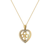 Heart Necklace 14K Gold Diamond Halo with Exquisite Styling (G,I1) - Yellow Gold