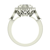 0.98 Carat Vintage Halo Solitaire Wedding Ring 14K Gold (I,I1) - White Gold