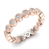 0.60 cttw Bezel Set Milgrain outline Diamond Stackable Band 14k Gold (I,I1) - Rose Gold