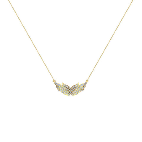 18K Gold Necklace Feather & Wings Diamond Pendant 0.74 ctw (G,VS) - Yellow Gold