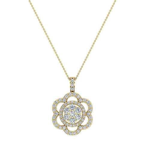 14K Gold Necklace Flower Diamond Loop Statement piece (I,I1) - Yellow Gold